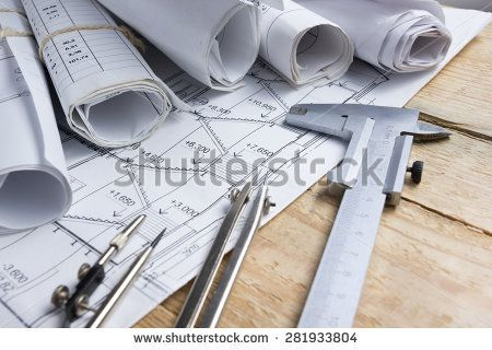 Architectural Project, Blueprints, Blueprint Rolls And Divider Compass,  Calipers On Vintage Wooden Background