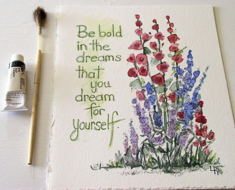 painting hollyhocks Google Search Garden illustration