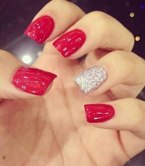 Red Hot Party Nail Design with One White Glitter Nail - Red Hot Party Nail Design With One White Glitter Nail Nails