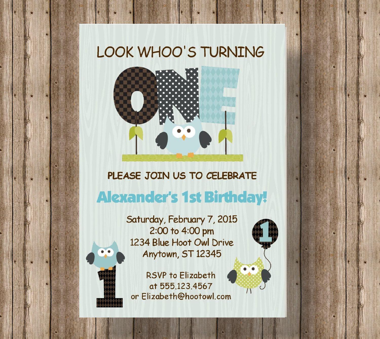 OWL FIRST BIRTHDAY Invitation for Boys Blue Owl 1st Birthday