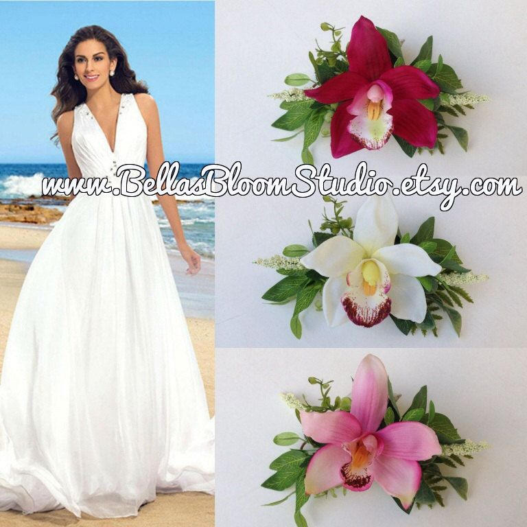 Wedding Hairstyles In Jamaica: Bridal Orchid Flower Orchid Hair Clip Hawaiian Hair Flower