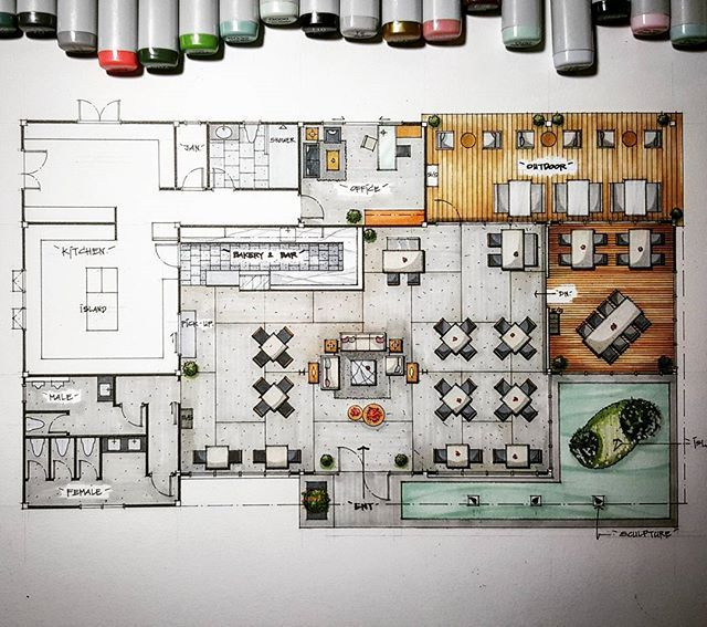 The Brick Restaurant Revise Layout Presentation Floorplan Handdrawing Sketch Interior Design Cafeteria Design Restaurant Layout Brick Restaurant