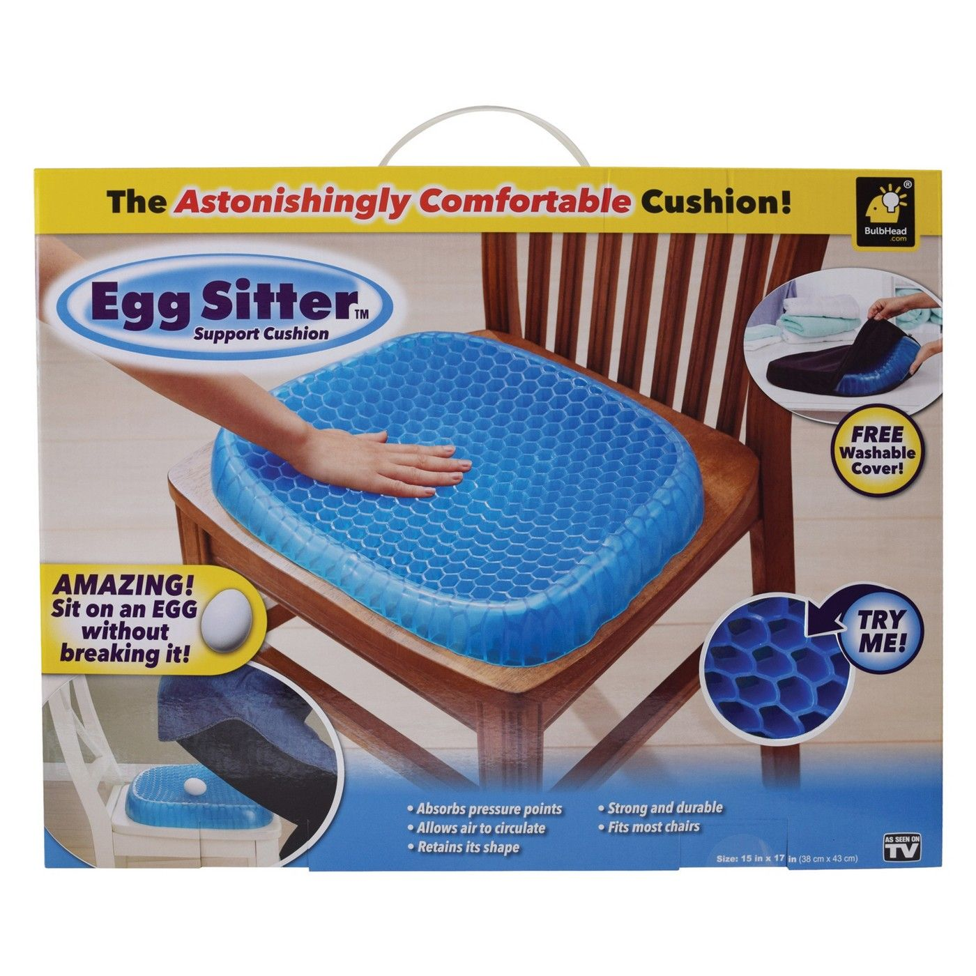 As Seen on TV Egg Sitter Seat Cushion Blue Back support