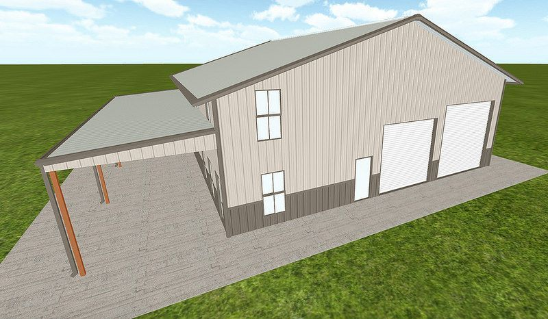 54' x 54' Steel Building with Living Quarters The Garage