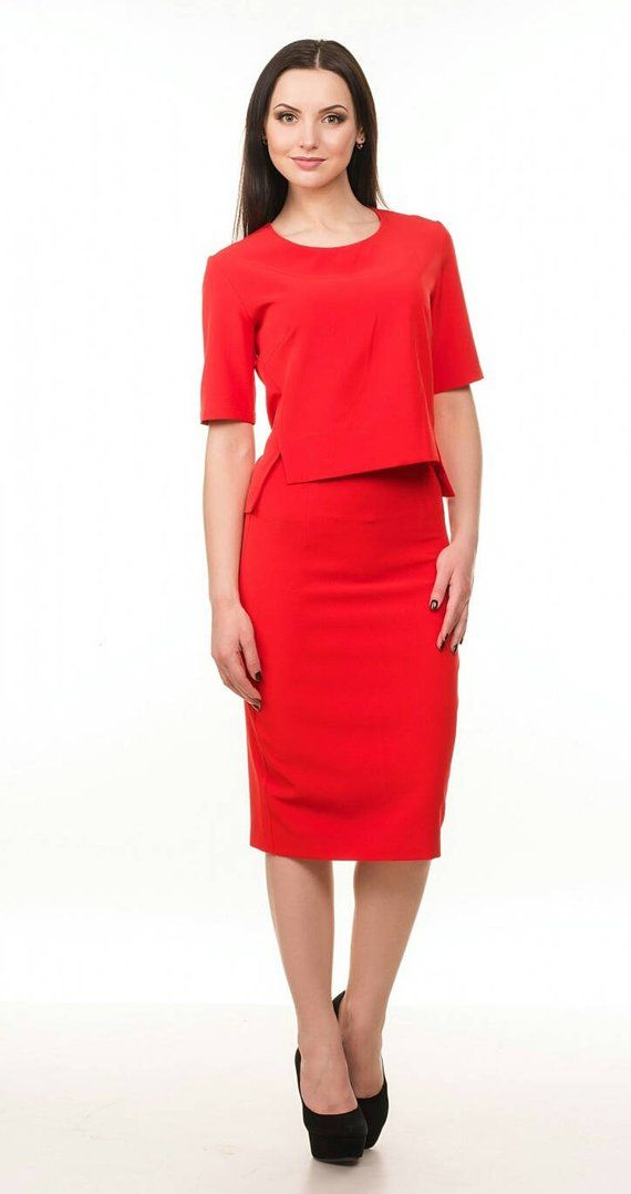 8c9fcb206f Red suit Spring suit Skirt for woman Day to day clothes Office wear ...
