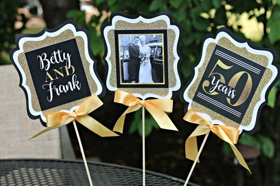 GOLDEN ANNIVERSARY 50th Anniversary Party Decorations Anniversary Centerpiece 50th Wedding Anniversary Golden Years Black and Gold