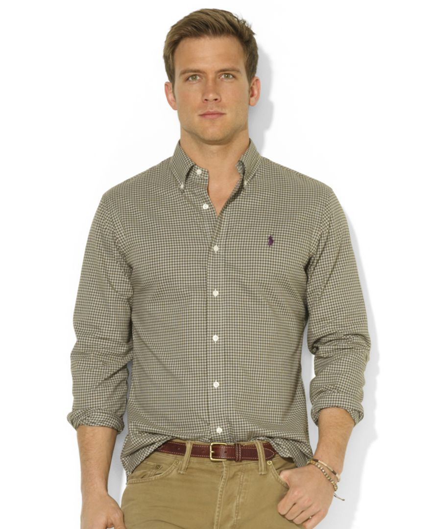 2190b396 Polo Ralph Lauren Shirt, Classic-Fit Long-Sleeve Checked Sueded Twill Shirt