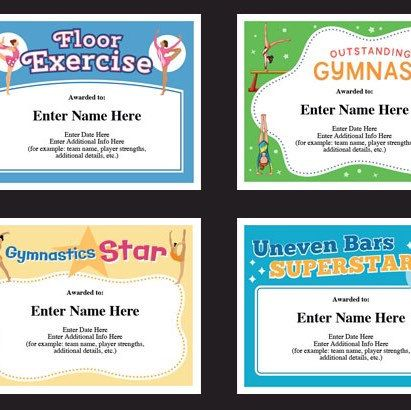 Gymnastics certificate pack, kids certificate, Gymnast award - naming certificates free templates