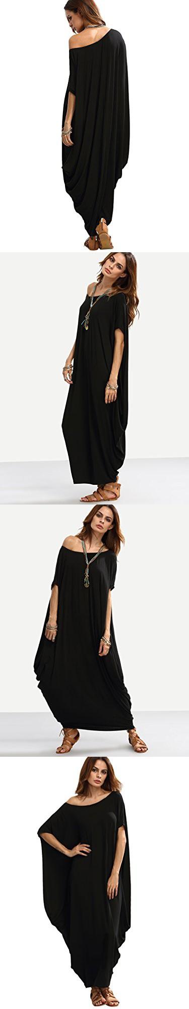 4ae4682a072 Verdusa Women s Boho One Off Shoulder Caftan Sleeve Harem Maxi Dress Black M