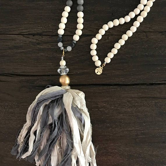 6ac14d107dc1e Boho beaded tassel necklace WITH a beautiful gray and cream silk tassel.  This necklace measures about 35 inches without the tassel.