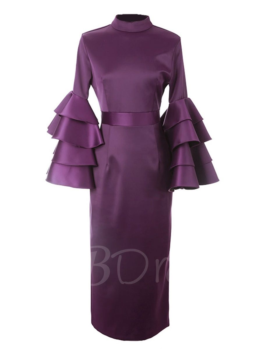 Bell Sleeve Purple Women S Sheath Dress M Tbdress Com