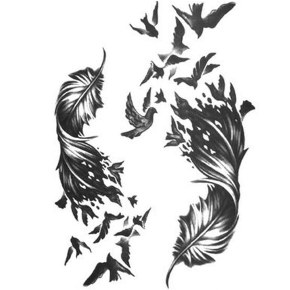 Creative- Sexy Men And Women Temporary Legs Tattoos Waterproof Stickers Feather