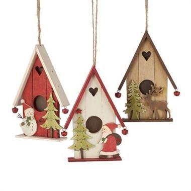 Christmas Birdhouses Crafts.Wooden Birdhouse Ornament L Melbourne Christmas Shop