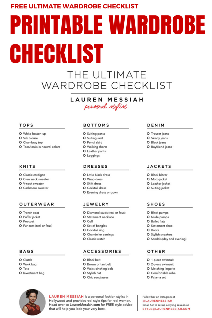 free checklist for the ultimate wardrobe stocked with all of the key