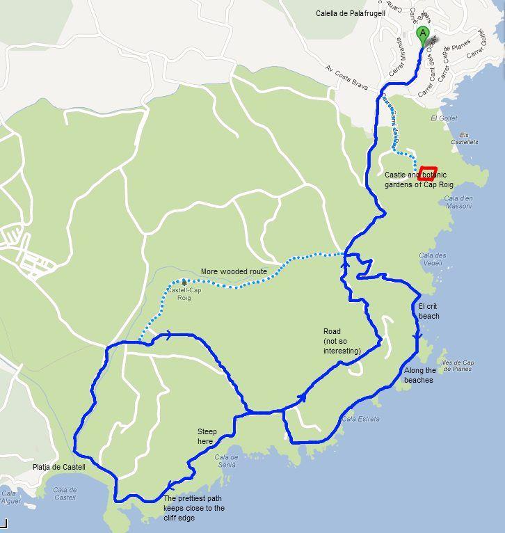 Walking route Calella Cap Roig to Platja de Castell via El Crit and