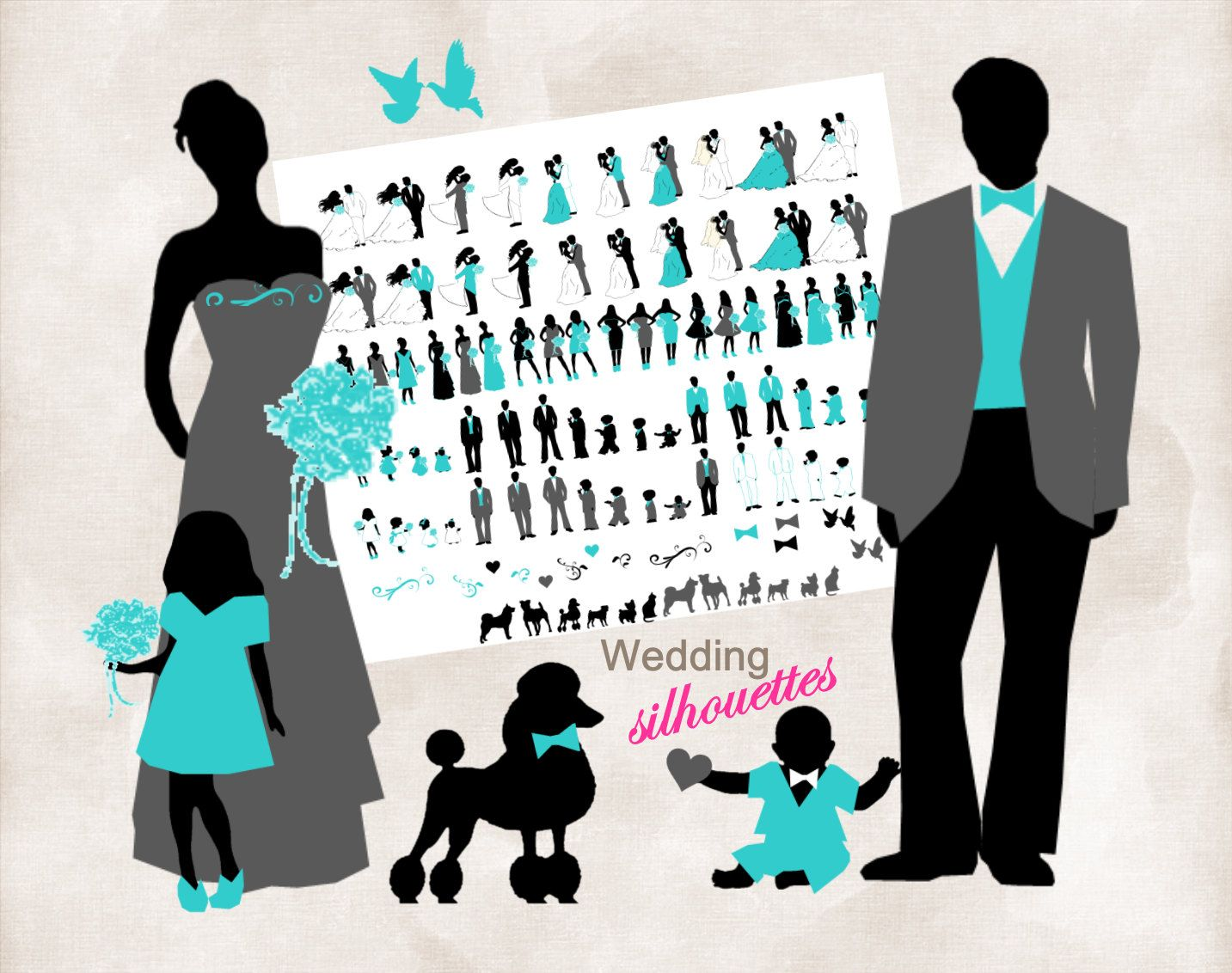 Silhouette wedding bridal party 102 Silhouettes clipart
