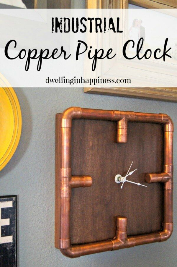 Industrial Copper Pipe Clock - Dwelling in Happiness featured on Kenarry: Ideas for the Home
