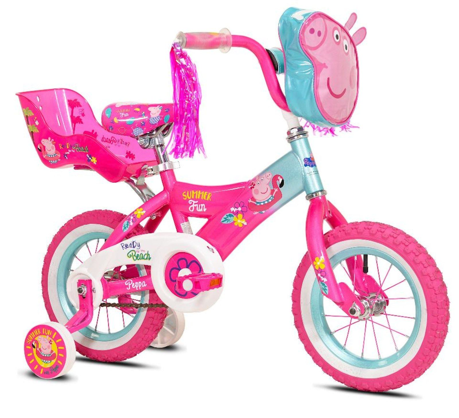 Girls 12 Inch Peppa Pig Bike With Doll Seat Peppa Pig Toys