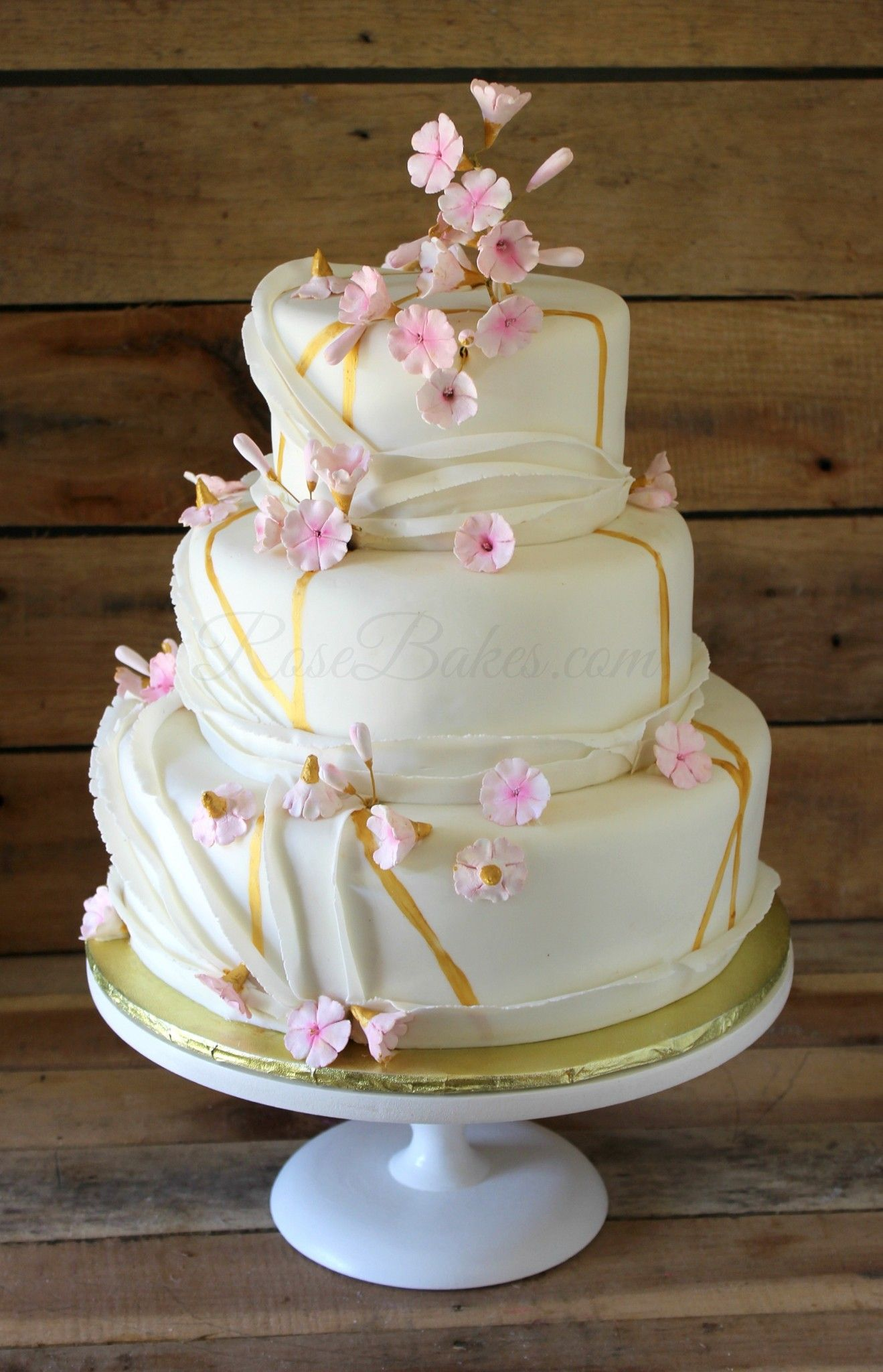 Pink & Gold Cherry Blossoms Cake