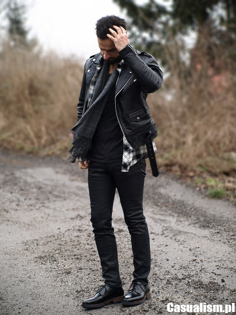 h&m Dark gray suede mens biker jacket & black slimfit