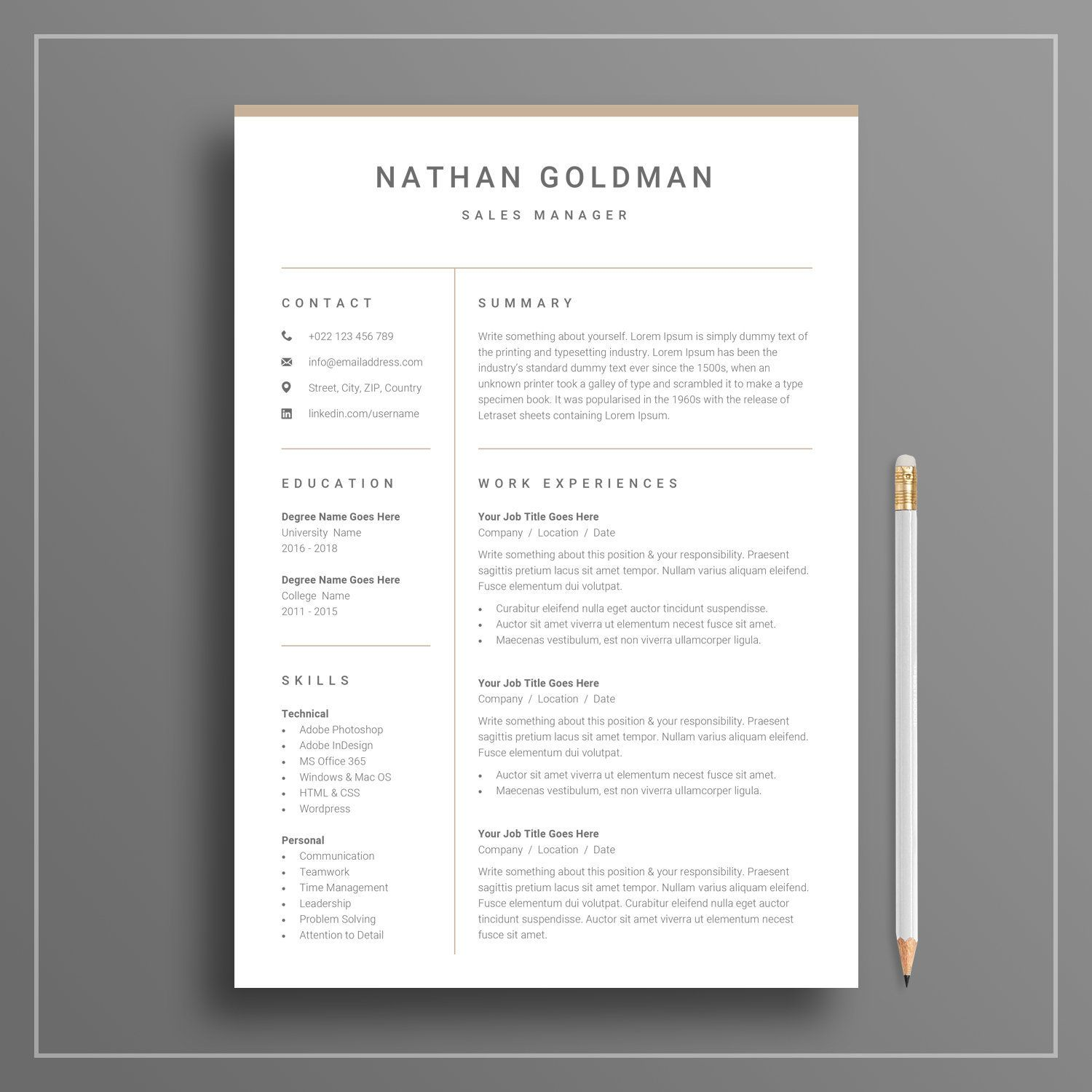 clean one page resume with cover letter 01