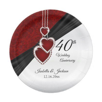 40th Ruby Wedding Anniversary Paper Plate  sc 1 st  Pinterest & 40th Ruby Wedding Anniversary Paper Plate | Ruby wedding anniversary ...
