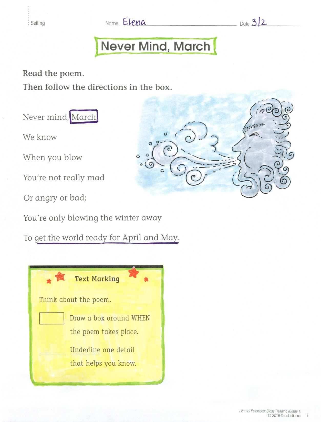 After Reading This Poem About March Winds Children Identify Text Elements And Answer