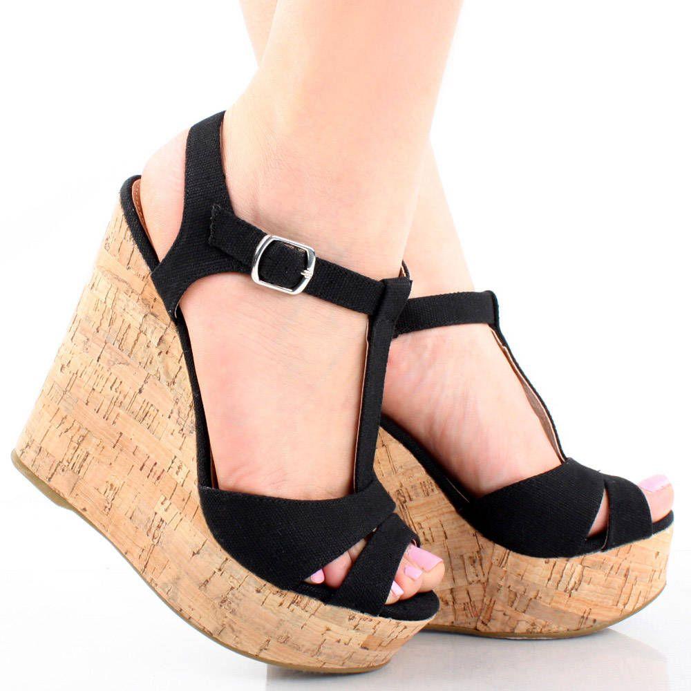 Black Canvas Summer Ankle Strap Women High Heel Platform Wedge Sandals Shoes  6