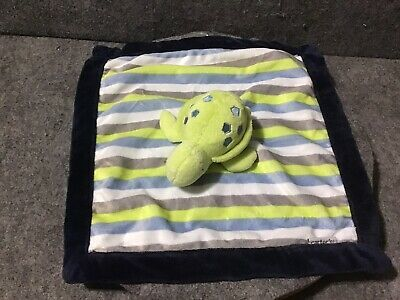 Details about Carter's OS One Size Blue Green Stripe Green Turtle Baby Security Blanket HTF #securityblankets