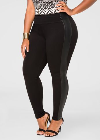 be1db447d0f Faux Leather Ponte Jegging From The Plus Size Fashion Community At  www.VintageAndCurvy.com
