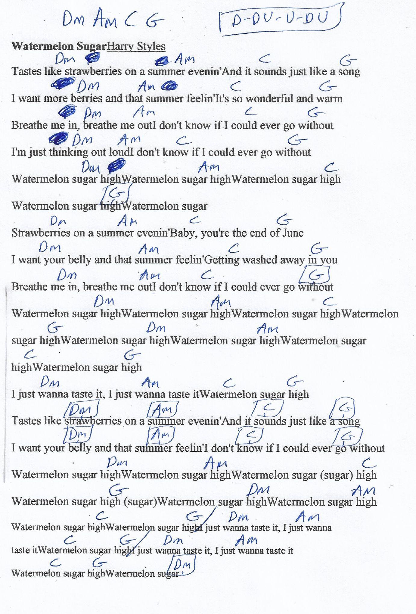 Watermelon Sugar Harry Styles Guitar Chord Chart Guitar Chords And Lyrics Ukulele Chords Songs Ukulele Songs
