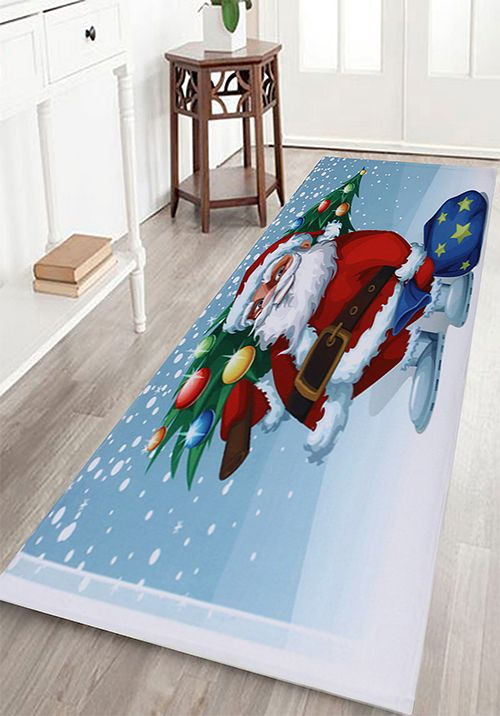 Christmas Santa Tree Pattern Indoor Outdoor Area Rug Tree - Quality bath rugs for bathroom decorating ideas