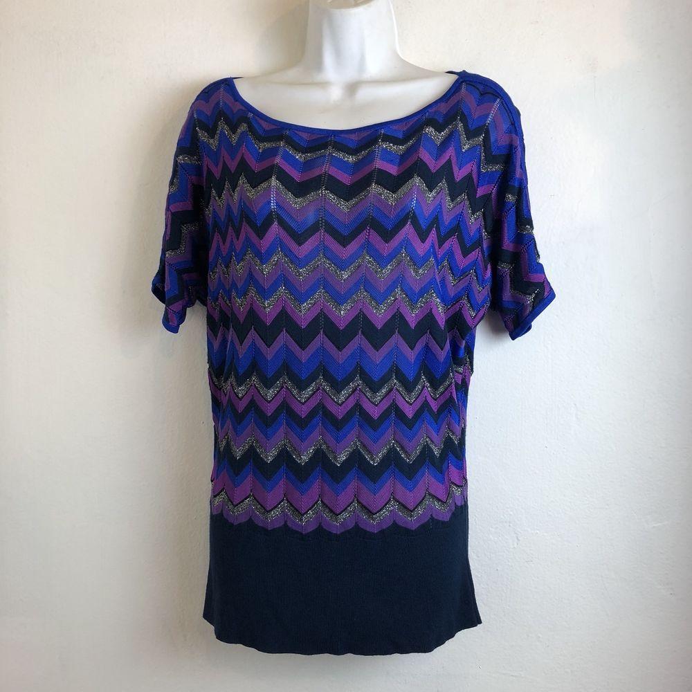 0921efde5b565 cache womens size M chevron blue purple sweater blouse