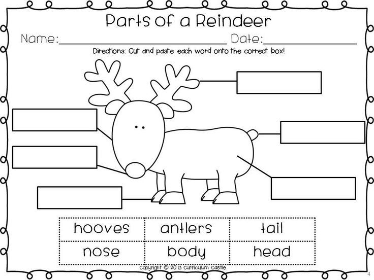 FREEbie Label the parts of a reindeer – Christmas Cut and Paste Worksheets
