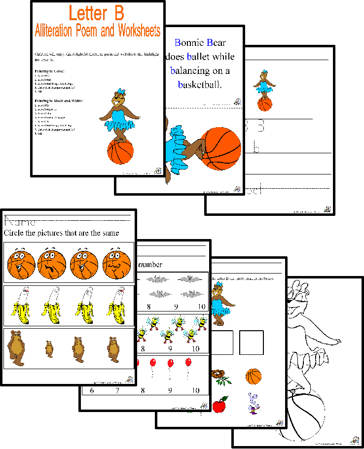 Alliteration Poems and Worksheets Consonant Bundle Letters