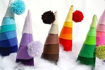 Felt And Pom Pom Trees Handmade Christmas Tree Different Christmas Trees Felt Christmas Tree