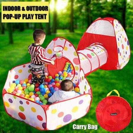 3 in 1 Kids Toddler Tunnel Pop Up Play Tent Indoor Outdoor Playhouse 100 Balls