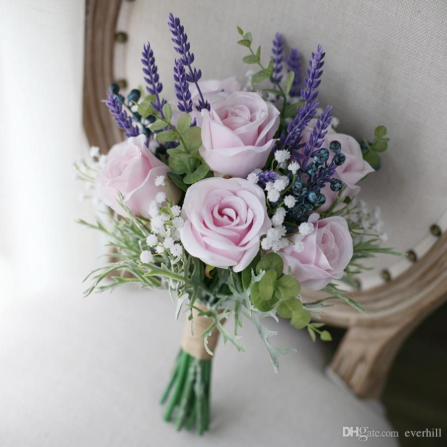 Lavender Rose Gypsophila Bridal Bouquet: Jane Vini Artificial Pink Roses Purple Lavender Wedding