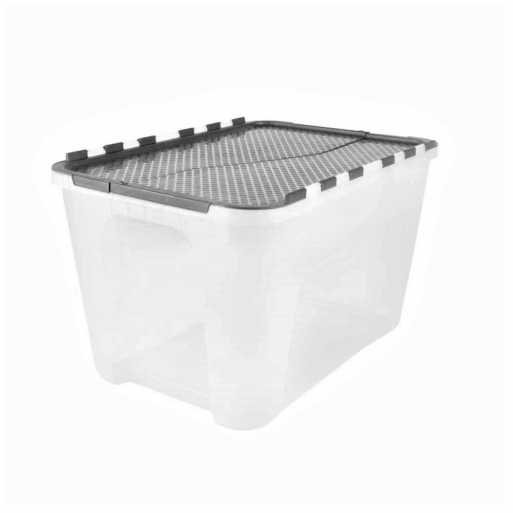 Hdx 12 Gal Flip Top Storage Tote With Black Lid 4 Pack Black Clear Tote Storage Storage Totes Household Items