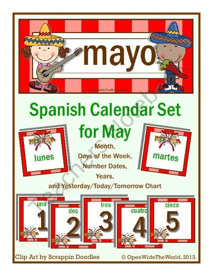 Spanish Calendar Set for May THEME Cinco de Mayo Pinterest