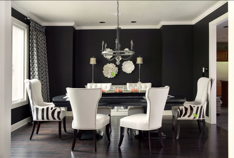 Love The Statement Wall And Pop Of White Zebra Chairs Pull It All Together Nicely This Modern Style Dining Room