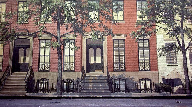 Modern Brick Apartment Building stock photo - classic red brick apartment building with styled