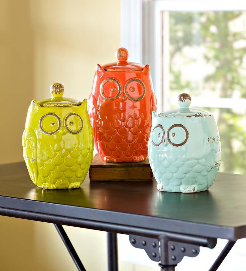 Ceramic Owl Storage Jars Set Of 3 Kitchen Accessories Owl Kitchen Ceramic Owl Jar Storage