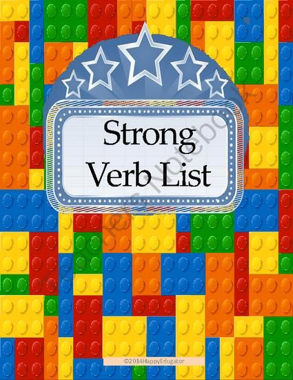 Strong Verb List from HappyEdugator on TeachersNotebook - (3 - action verb list