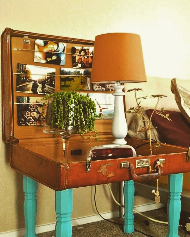 Old Suitcase Repurposed As Side Table Upcycled Recycled