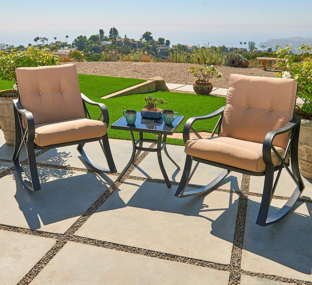 This patio conversation set comes with two comfortable