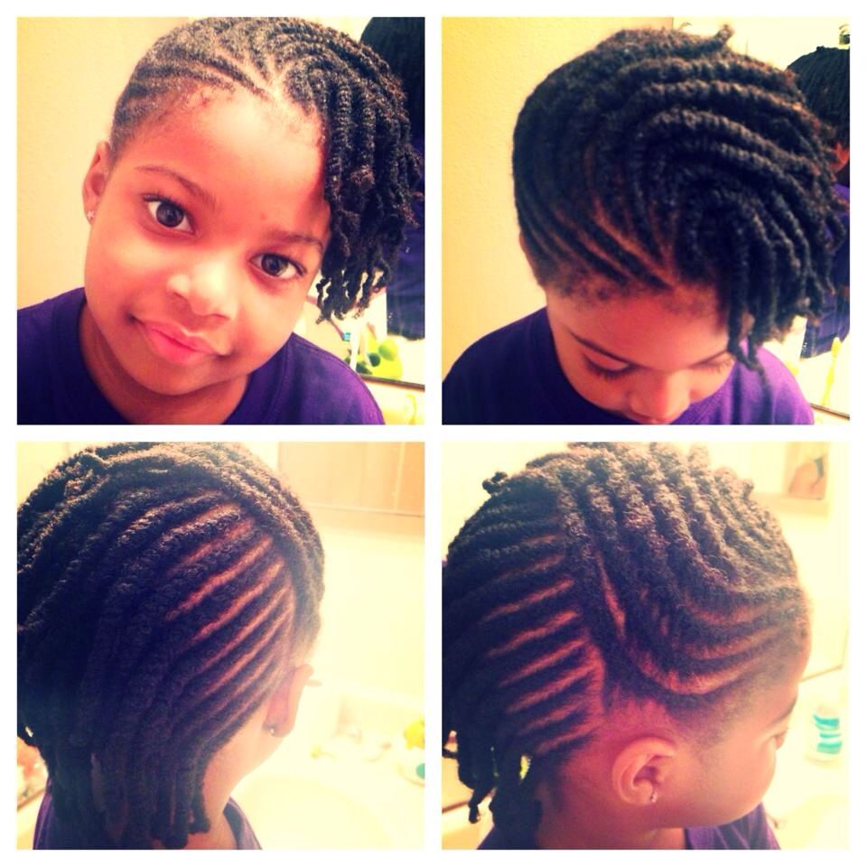 Kid Natural Hair Style Flat Twists To One Side Two