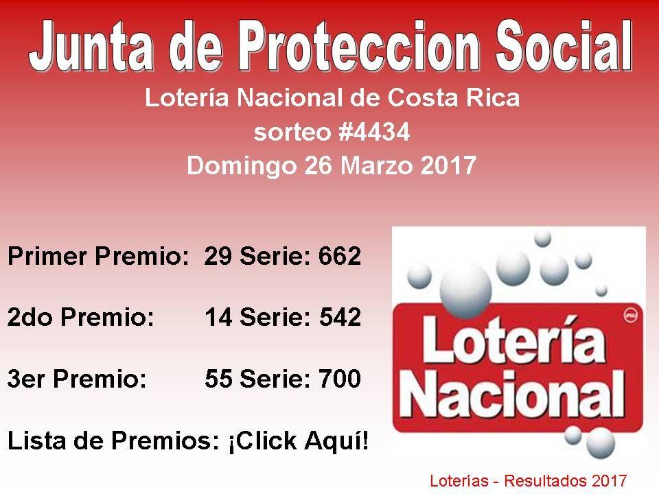 Junta De Proteccion Social Loteria Nacional Sorteo 4434 Del Domingo 26 Marzo 2017 Lista De Premio Click Aqui Lotería Nacional Lotería Sorteo