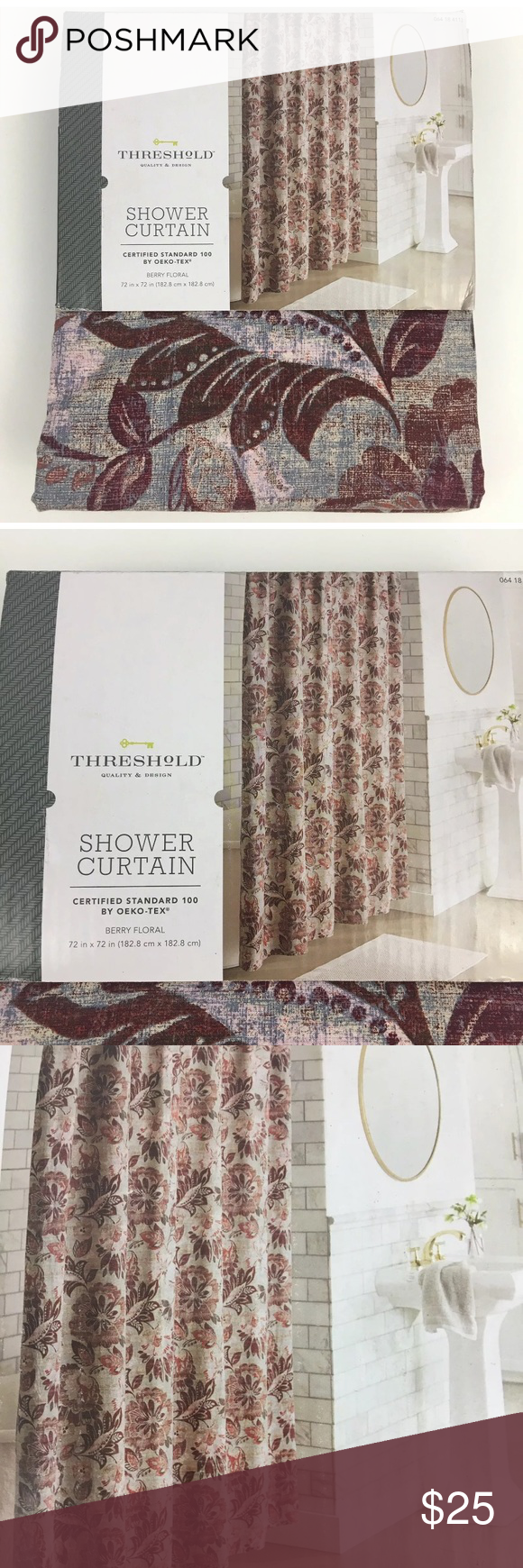 Berry Floral Fabric Shower Curtain Wine Color Threshold Berry