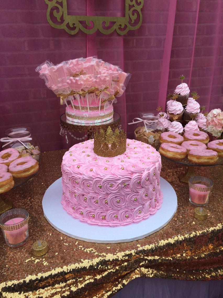 First Birthday Princess Pink And Gold Cake First